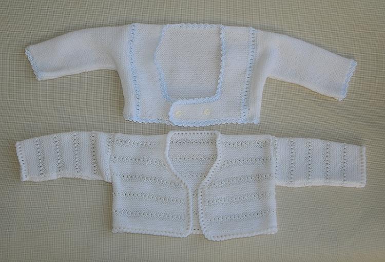 Rebequitas bebé. Trabajo realizado en lana y perle